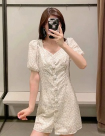 Fashion White Puff Sleeve Printed Small Floral Dress