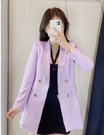 Fashion Purple Double-breasted Jacket With Flap Pockets