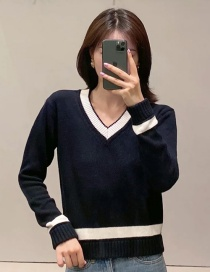 Fashion Black College Style V-neck Stitching Sweater