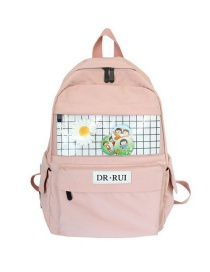Fashion Pink Plaid Stitching Contrast Color Flower Backpack