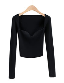 Fashion Black Knitted Long Sleeve Top