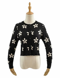 Fashion Black Sun Flower Knitted Sweater