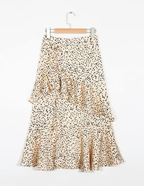 Fashion Beige Leopard Print Ruffle Skirt