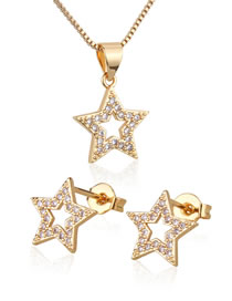 Fashion Golden Gold-plated Zirconium Five-pointed Star Earring Necklace Set