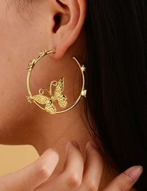 Fashion Golden Gold-plated Large Circle Butterfly Earrings