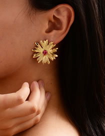 Fashion Golden Diamond Flower Earrings