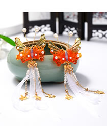Fashion Red Fringed Butterfly Pearl Resin Mesh Hairpin Set