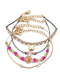 Fashion Color Mixing Beaded Four-leaf Clover Five-pointed Star Resin Bracelet Set