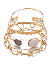 Fashion Golden Marble Geometric Chain Bracelet Set