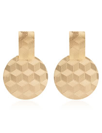 Fashion Golden Geometric Electroplated Round Earrings