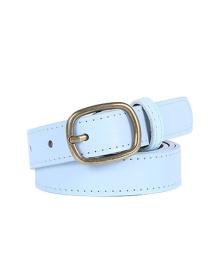 Fashion Sky Blue Bronze Buckle Alloy Pu Belt
