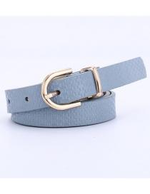 Fashion Sky Blue Straw Mat Pattern Gold Buckle Pin Buckle Belt