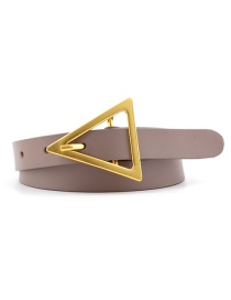 Fashion Light Khaki Triangle Buckle Shape Thin Belt