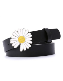 Fashion Black-single Daisy Small Daisy Flower Thin Belt