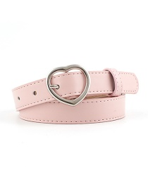 Fashion Pink-silver Buckle Heart-shaped Heart Buckle Belt