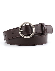 Fashion Coffee-silver Buckle Pu Buckle Belt With Round Buckle