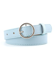 Fashion Sky Blue-silver Buckle Pu Buckle Belt With Round Buckle