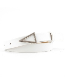 Fashion White Silver Triangle Buckle Snap Belt
