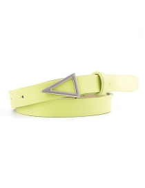 Fashion Fluorescent Green Silver Triangle Buckle Snap Belt