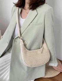 Fashion Creamy-white Straw Shoulder Bag With Wide Shoulder Strap