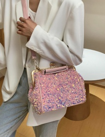 Fashion Pink Shoulder Crossbody Bag With Sequin Clip