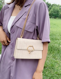 Fashion Large Beige Chain Shoulder Bag With Stone Pattern Lock
