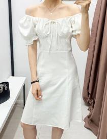Fashion White Puff Sleeve Off-shoulder Ruffle Dress
