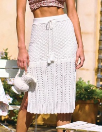 Fashion White Knitted Mesh Elastic Tether Skirt