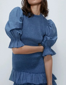 Fashion Blue Elasticated Ruffled Puff Sleeve Elastic Top
