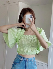 Fashion Fluorescent Green Ruffled Elasticated Dolman Sleeve Short Top