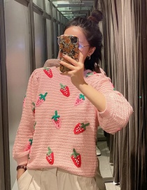 Fashion Pink Strawberry Contrast Color Round Neck Loose Sweater