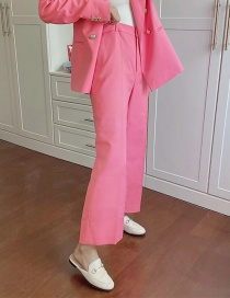 Fashion Pink Straight Solid Color High Waist Suit Pants