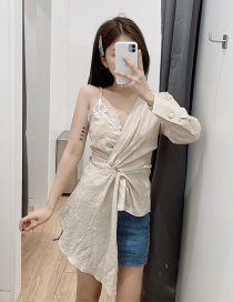 Fashion Beige Asymmetric Stitching Strap V-neck Top