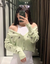 Fashion Green Butterfly Embroidered Sweater Coat
