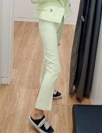 Fashion Fluorescent Green Solid Color Flared Trousers