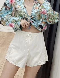 Fashion Beige Floral Embroidery Waist Tie Shorts