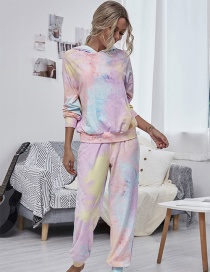 Fashion Color Round Neck Dyed Sweater Long Sleeve Trousers Suit