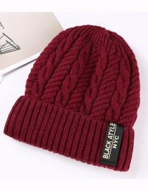 Fashion Purplish Red Letter Patch Double Layer Plus Velvet Mens Knitted Hat