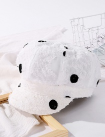 Fashion Milk White Big Polka Dot Octagonal Hat