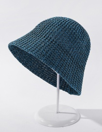 Fashion Lake Blue Light Plate Knitted Solid Color Sunscreen Fisherman Hat