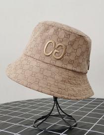Fashion Khaki Letter Embroidered Printed Sunshade Fisherman Hat