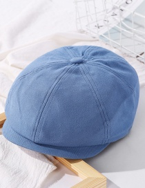 Fashion Blue Solid Color Stitching Octagonal Cap