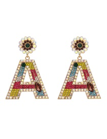 Fashion Color Alphabet Flower Earrings With Diamonds And Flowers
