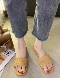 Fashion Brown Flat Woven Square Head Small Daisy Sandals And Slippers