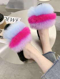 Fashion Rose Red Maomao Stitching Contrast Flat Slippers