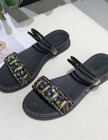 Fashion Golden Rhinestone Sequins Wear Flat Bottom Two Slippers