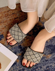 Fashion Black Diamond Slippers With Diamond Pattern