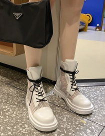 Fashion White Lace-up Mesh Breathable Platform Wedge Heel Martin Boots