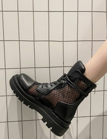 Fashion Black Lace-up Mesh Breathable Platform Wedge Heel Martin Boots