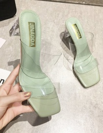 Fashion Green Thick Heels With Transparent Square Head